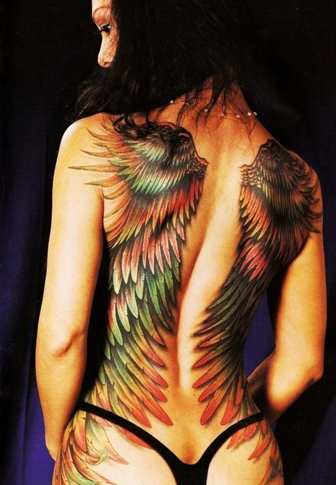 Angel Wing Tattoos on Back For Girls